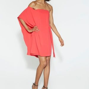 Halston Heritage Strapless Flowing Crepe Dress
